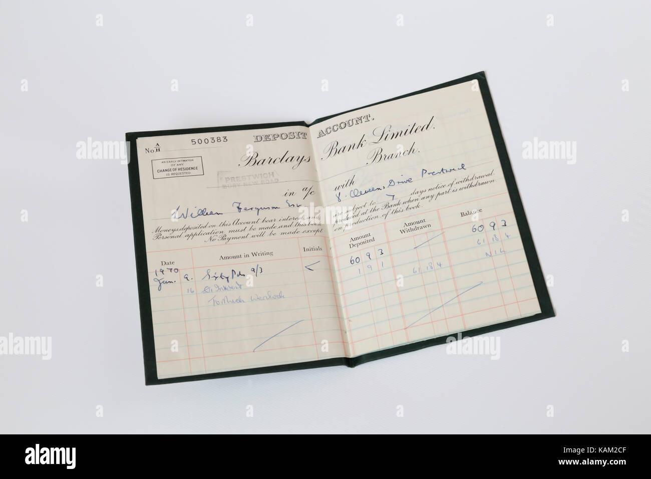 1970s bank deposit book - Stock Image