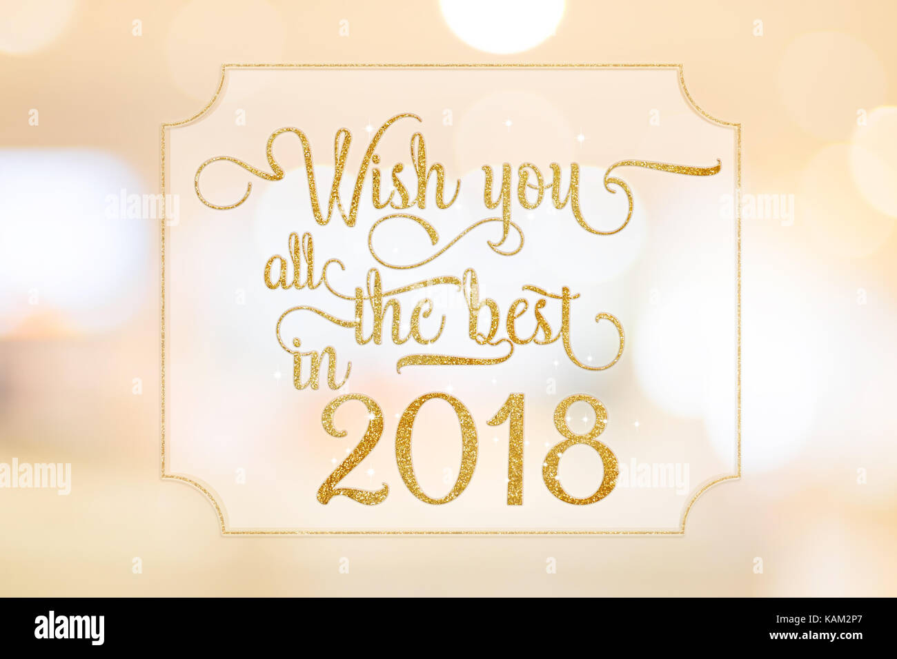 Wish you all the best in 2018 gold glitter word on white frame at wish you all the best in 2018 gold glitter word on white frame at abstract blurred bokeh light background holiday concept kristyandbryce Image collections