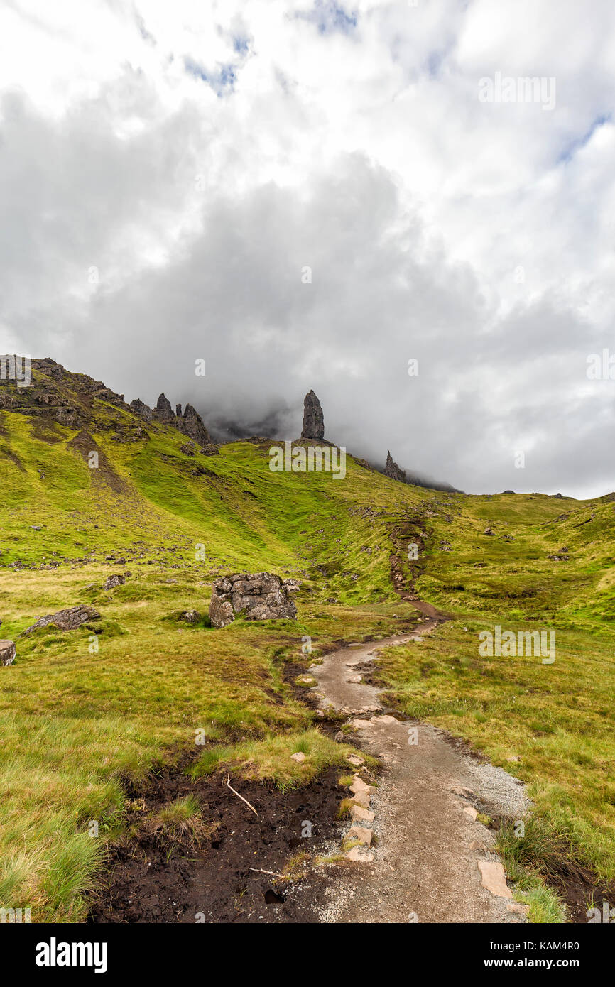 A hiking trail up to the Old Man of Storr on Isle of Skye in Scotland. Stock Photo