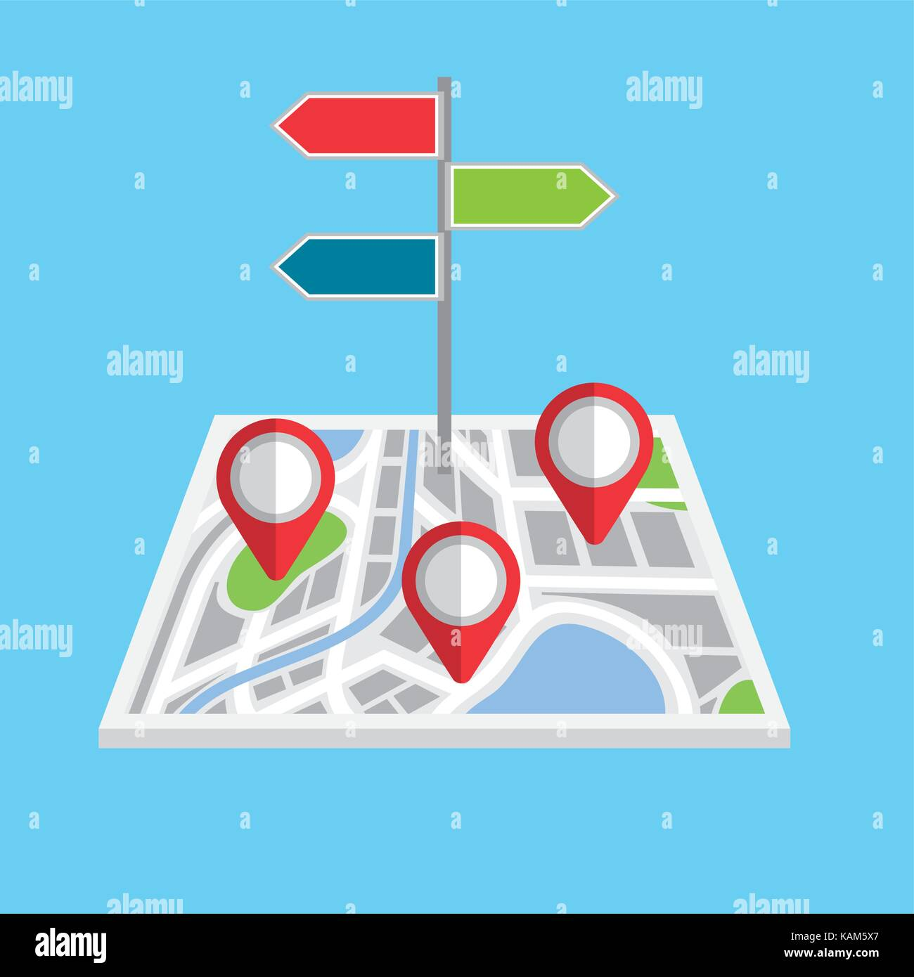 pointers map navigation direction localization signal - Stock Image