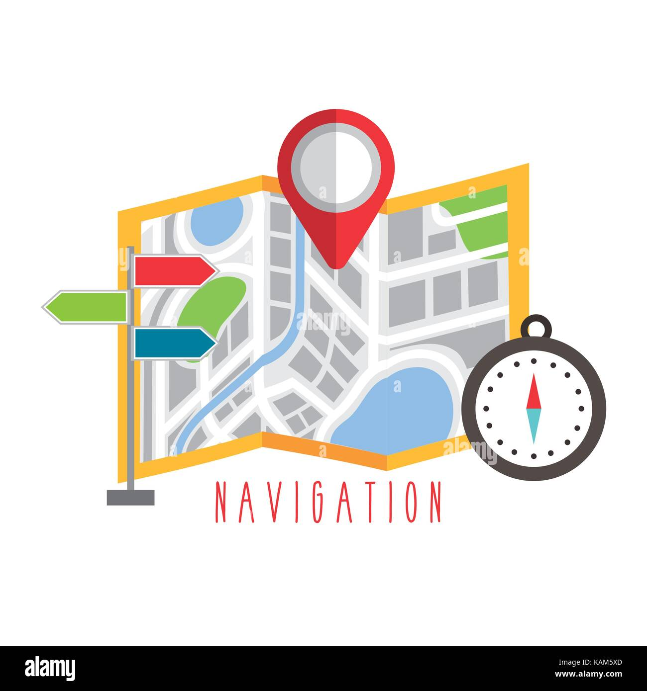 folded map navigation with red point markers design - Stock Vector