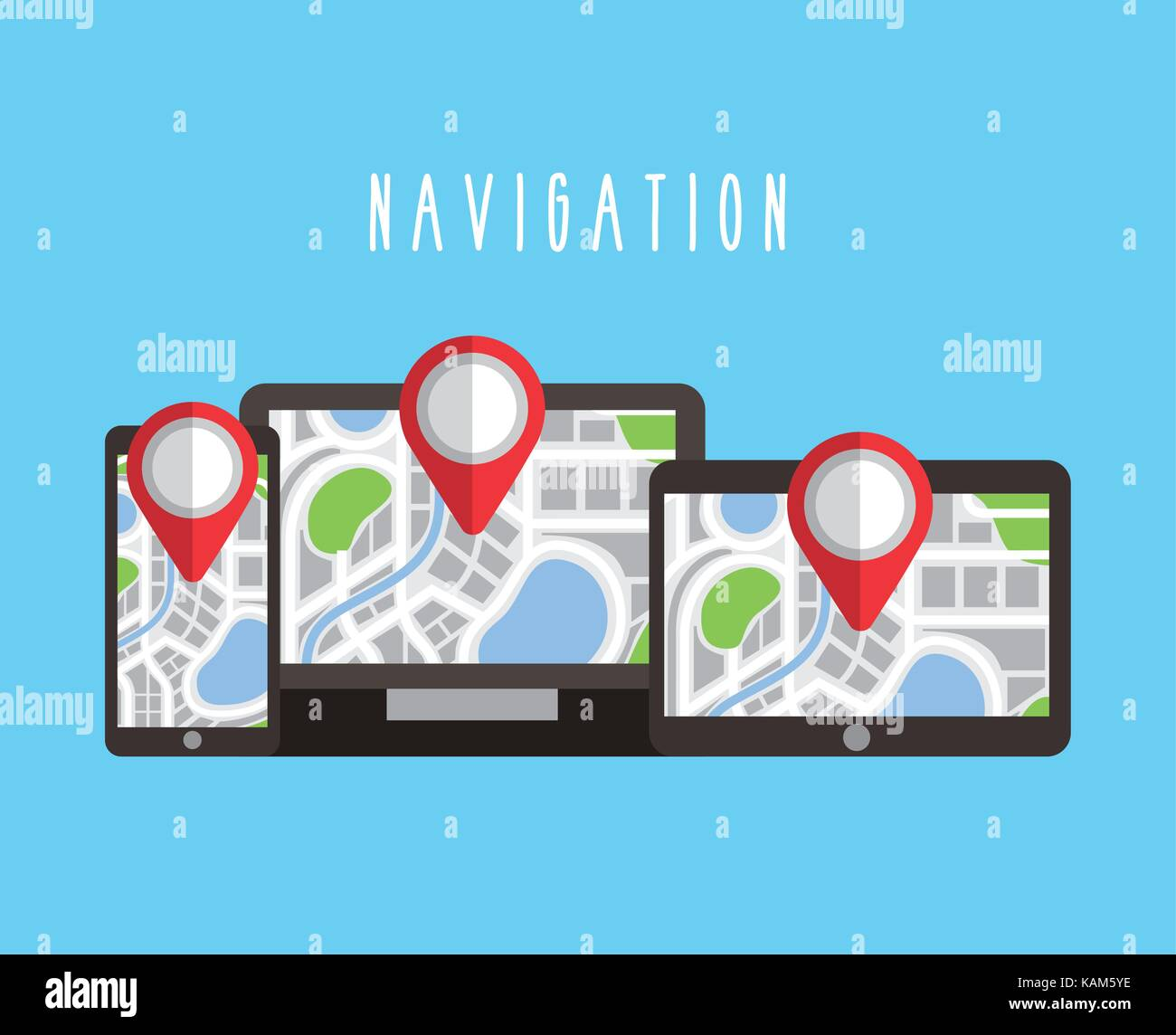digital devices with navigation gps map on screen Stock Vector