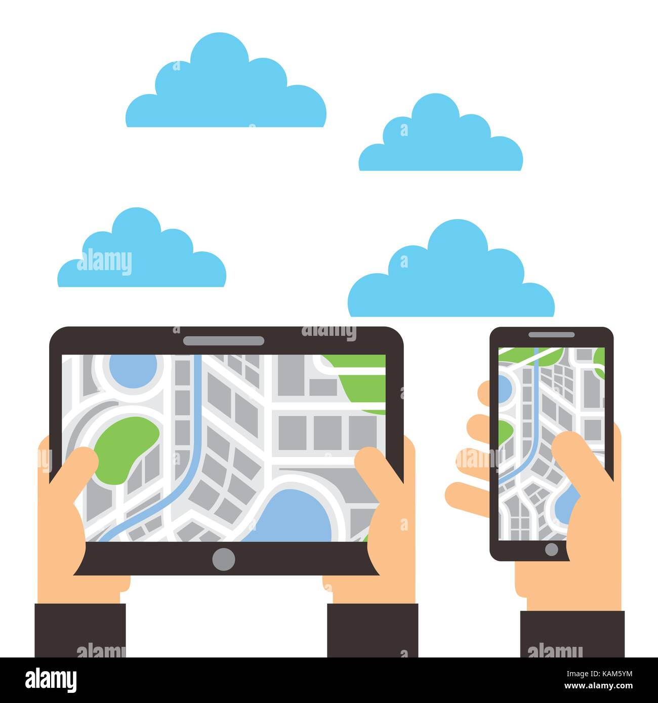 hands with tablet and smartphone navigation map location - Stock Image