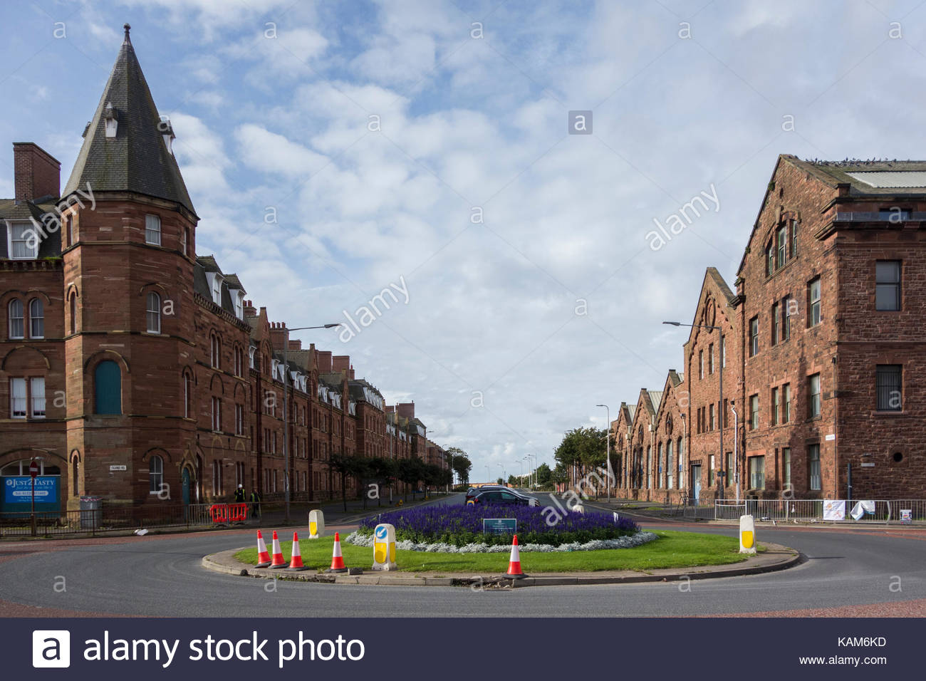Shipbuilding works on Michaelson Road in Barrow in Furness - Stock Image