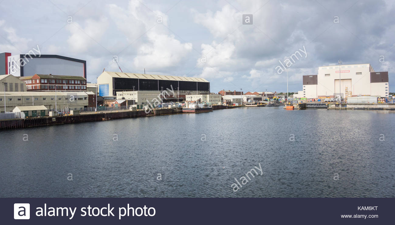Devonshire Dock and BAE Systems shipbuilding yards in Barrow in Furness - Stock Image