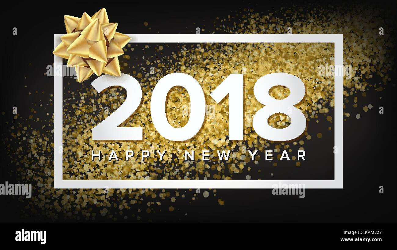 2018 New Year Poster Vector Realistic Bow Christmas Greeting Card