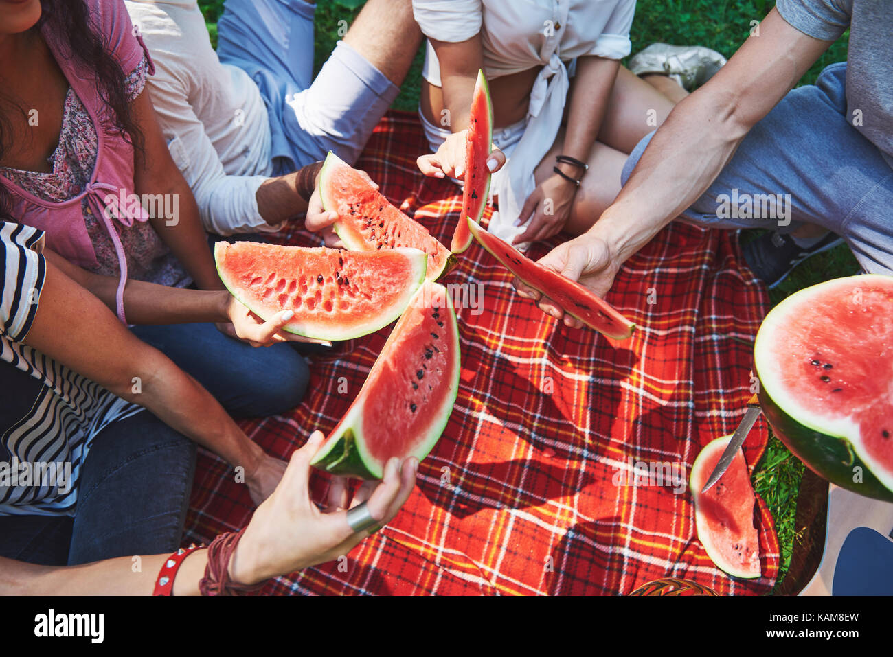 Cheerful friends enjoying watermelon on picnic on sunny summer day Stock Photo