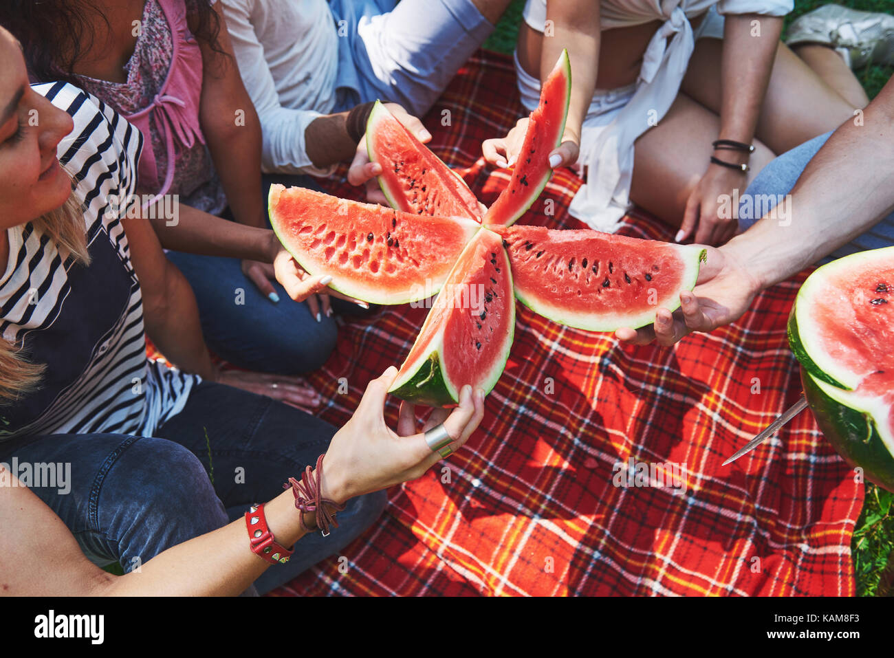 Cheerful friends enjoying watermelon on picnic on sunny summer day - Stock Image