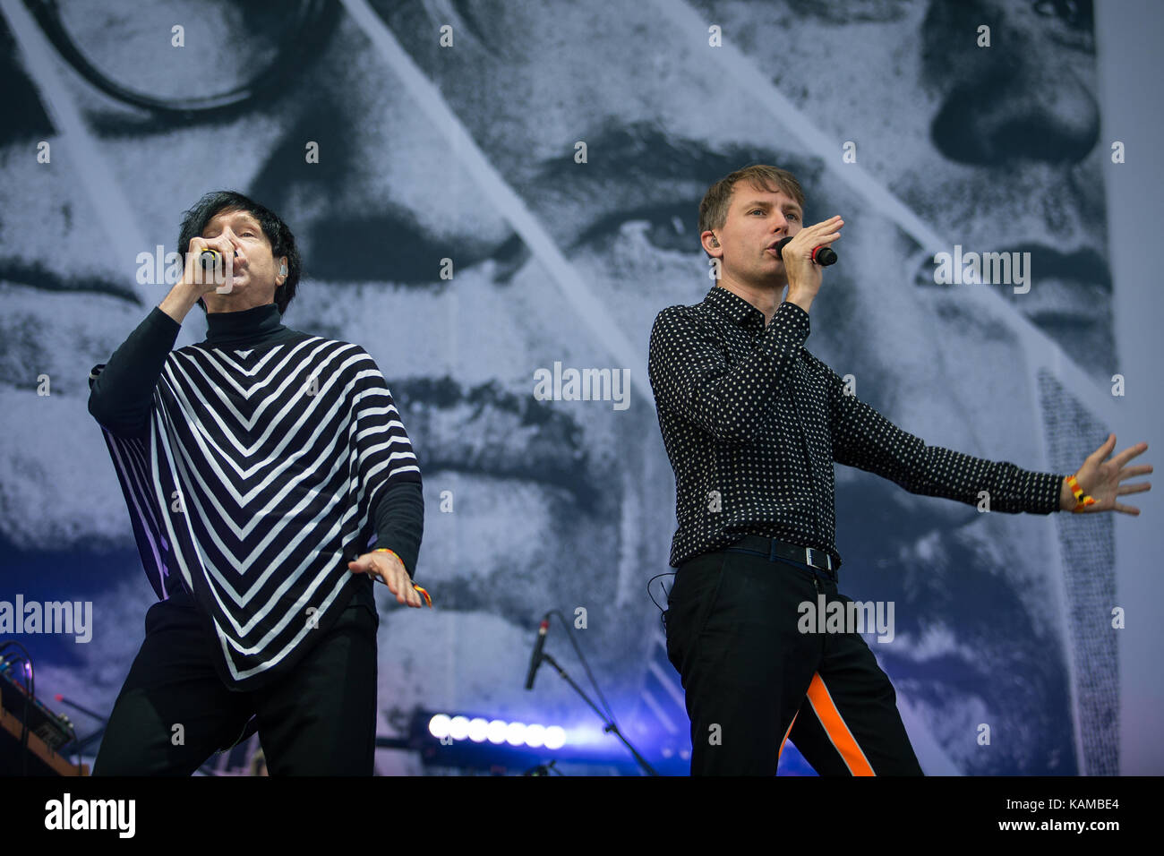 The American-Scottish super group FFS (Franz Ferdinand and Sparks) consists of members of the two bands Franz Ferdinand - Stock Image