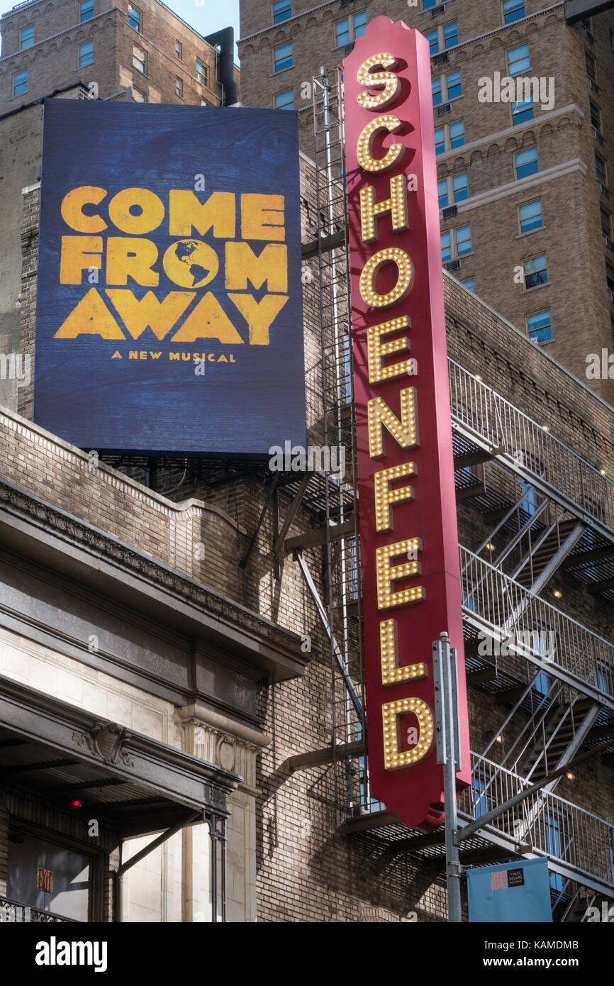 Schoenfeld Theater in Times Square, New York City, USA - Stock Image