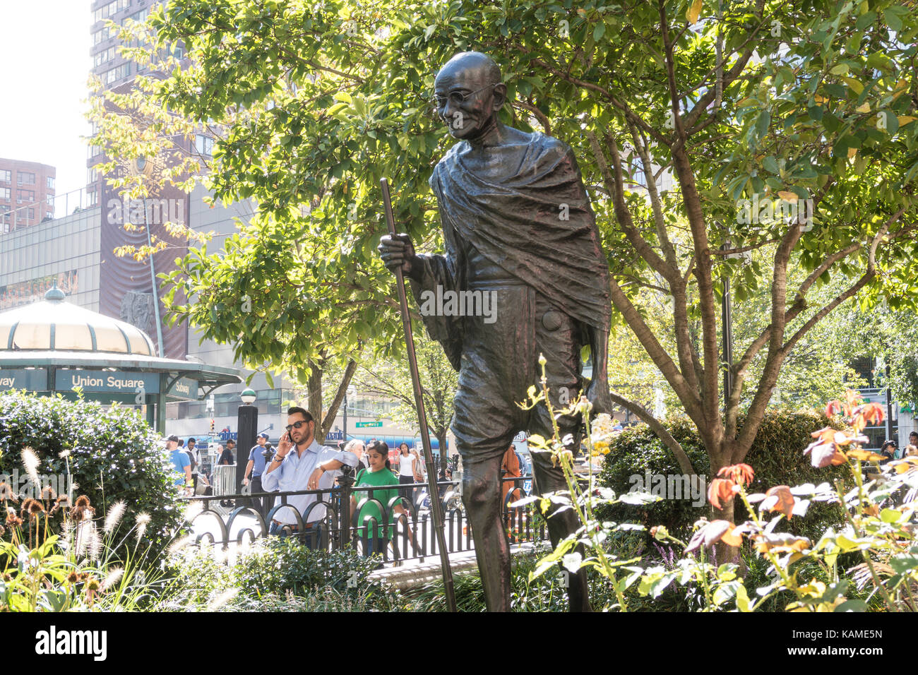 Gandhi Sculpture in Union Square Park, NYC, USA - Stock Image