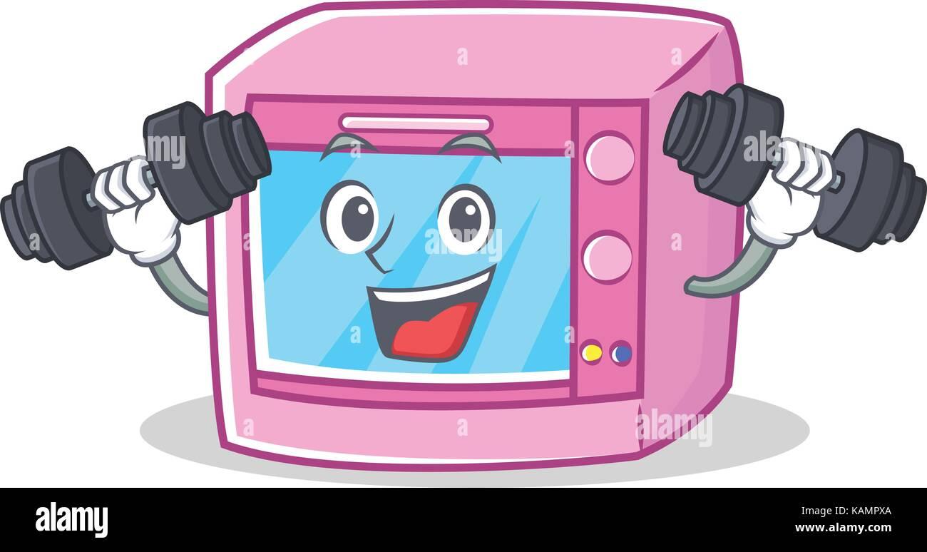 fitness oven microwave character cartoon stock vector art