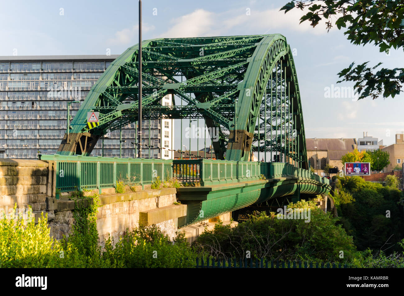Wearmouth Bridge (1929), Sunderland. Grade II listed Bridge designed by Mott, Hay and Anderson and viewed from the - Stock Image