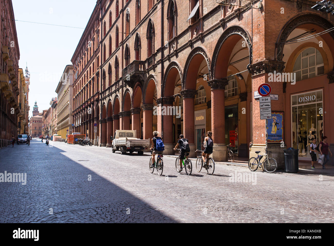 e2d60cb4c3b5 Students cycling in 'Via Indipendenza' one of the main street in the  historical centre