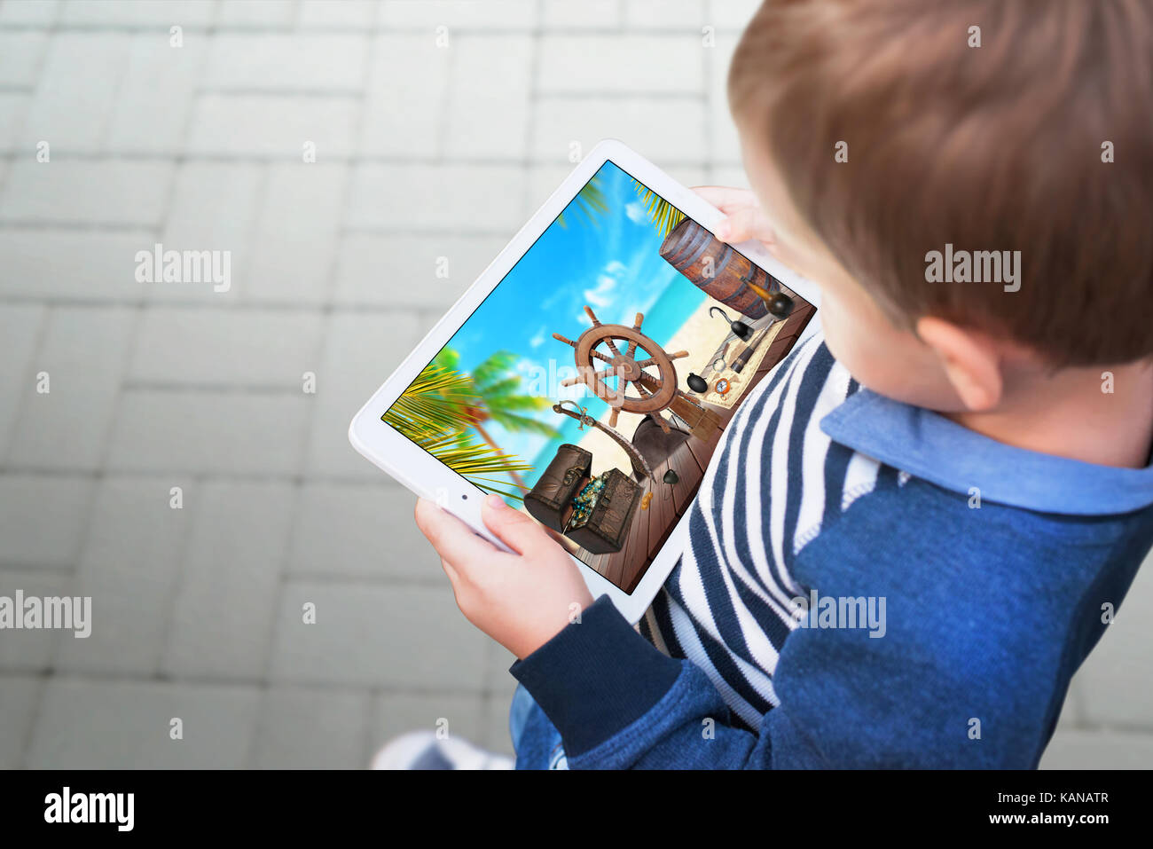 Boy Watching Video On A Tablet Scene Represents The Addiction Of Stock Photo Alamy