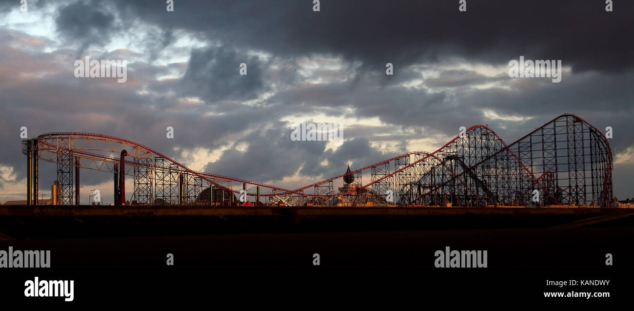 The Big One Roller Coaster Ride At Blackpool Pleasure Beach Theme Park In Blackpool, Lancashire, England, Uk - Stock Image