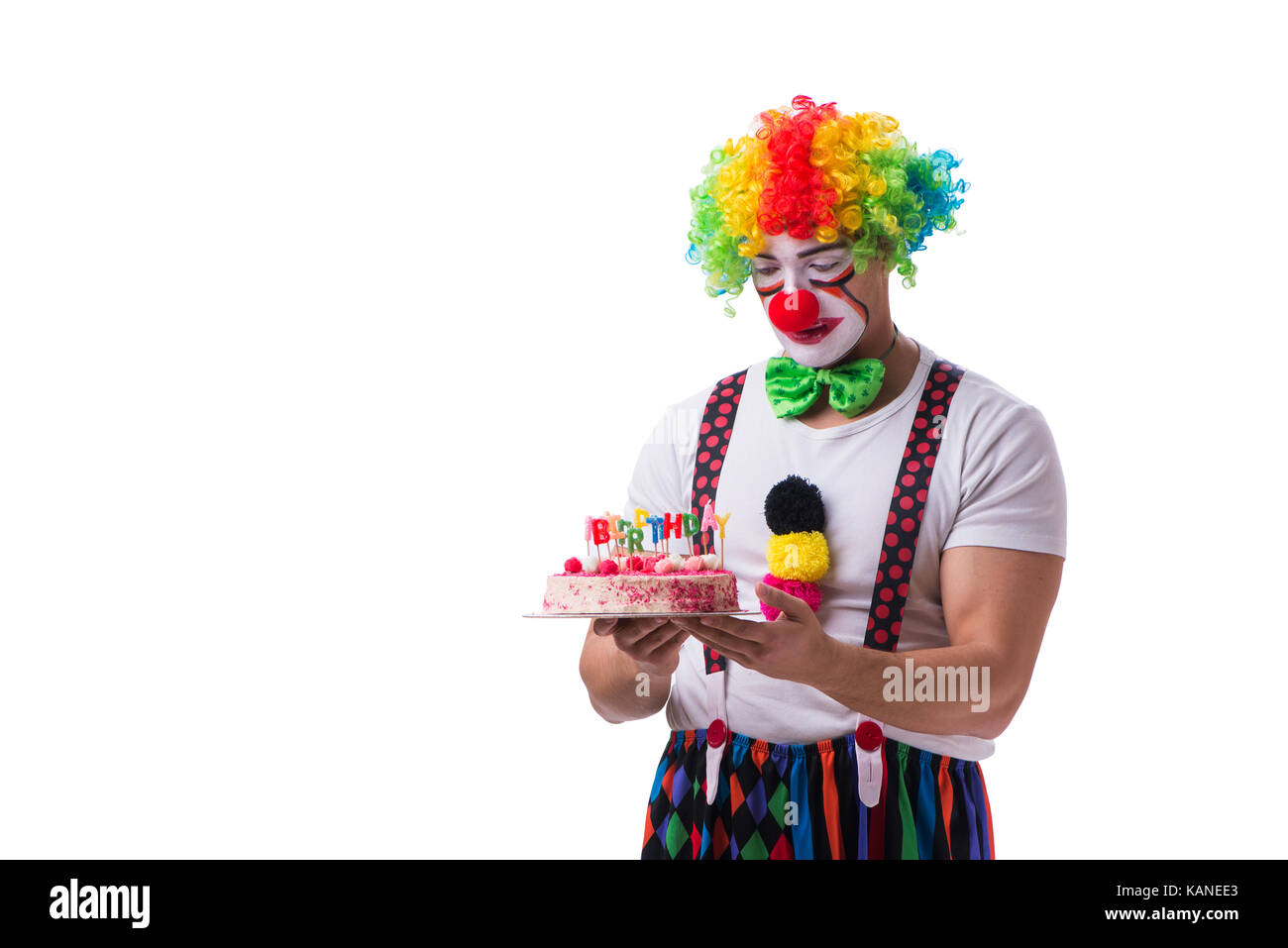 Funny Clown With A Birthday Cake Isolated On White Background Stock