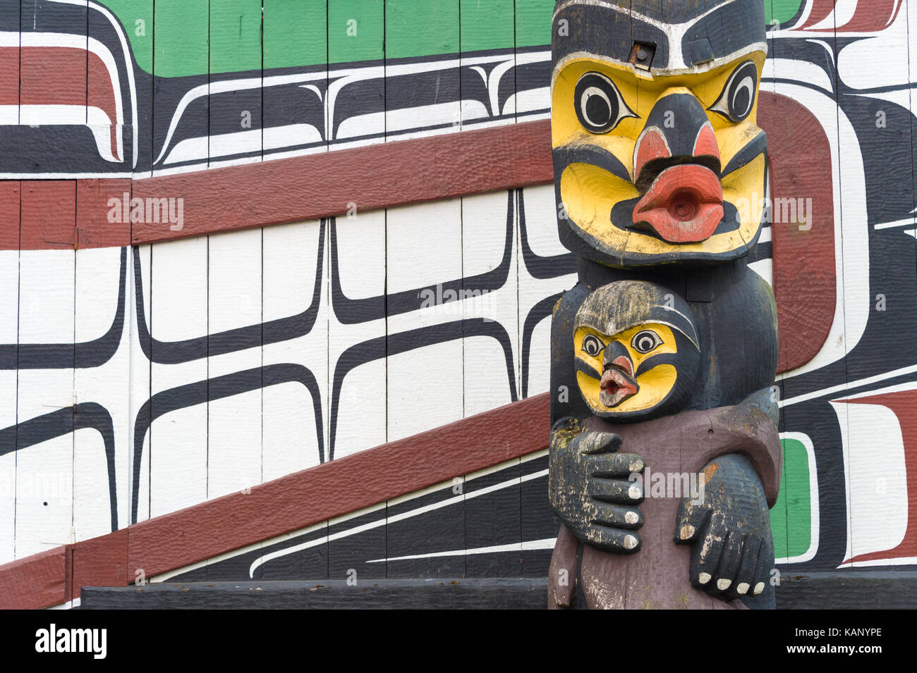 Victoria, BC, Canada - 11 September 2017: Detail of a totem pole located around Mungo Martin House in Thunderbird - Stock Image