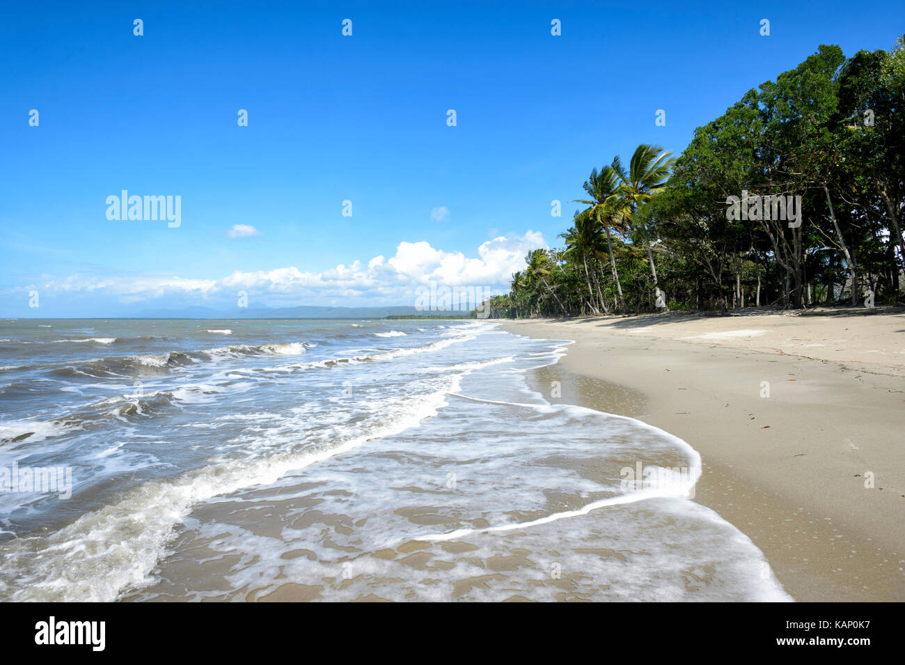 Exotic deserted sandy beach, Newell Beach, Far North Queensland, FNQ, QLD, Australia - Stock Image