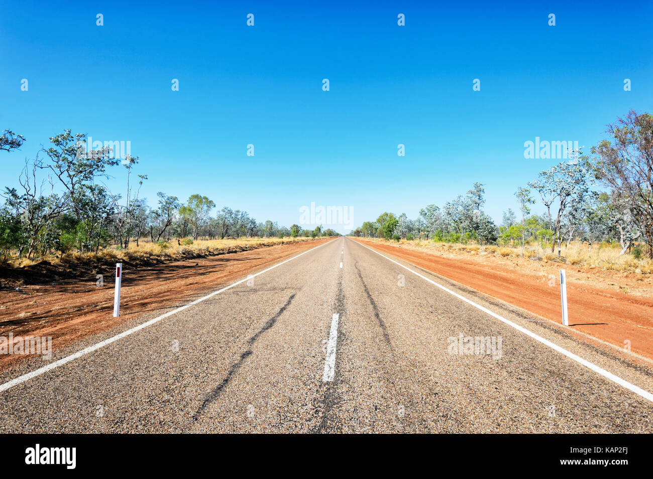 The remote outback Landsborough Highway between Longreach and Winton, Queensland, QLD, Australia - Stock Image