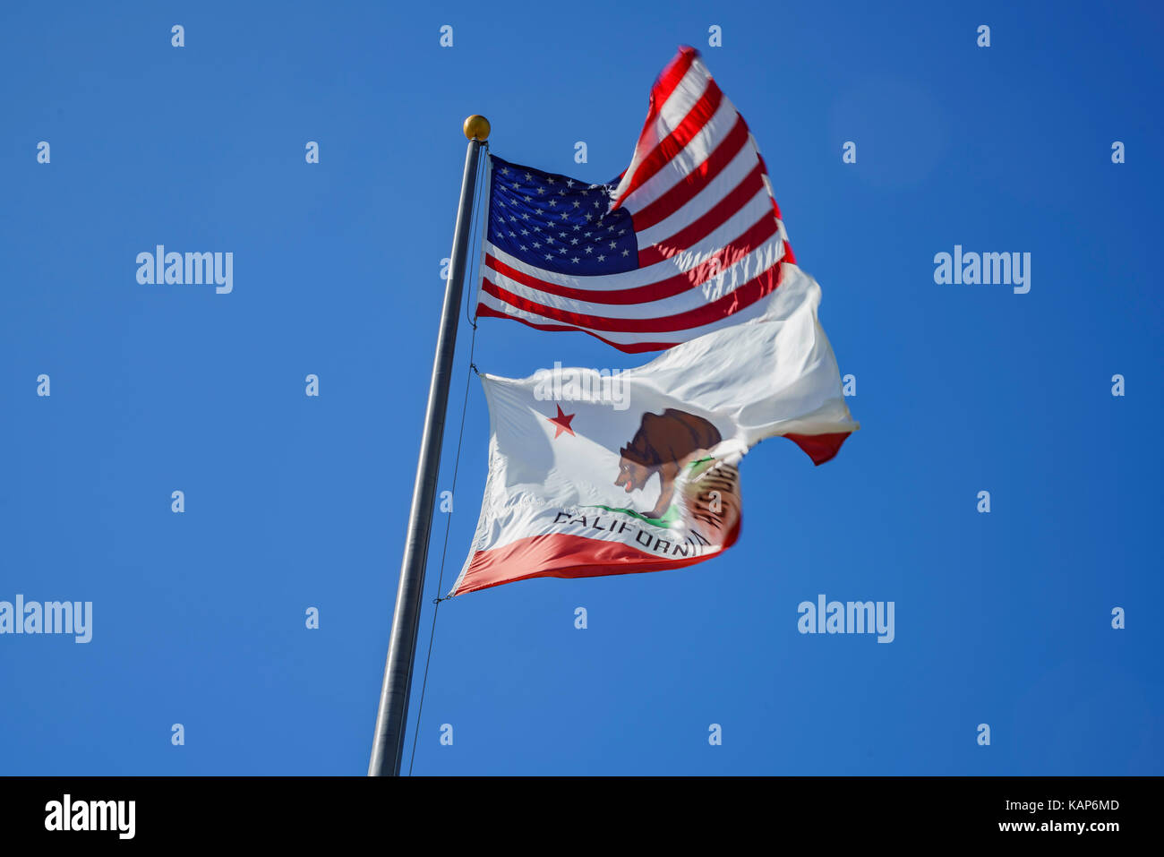 The American and California flag fluttering, photo taken at Santa Monica, Los Angeles County, California, United - Stock Image