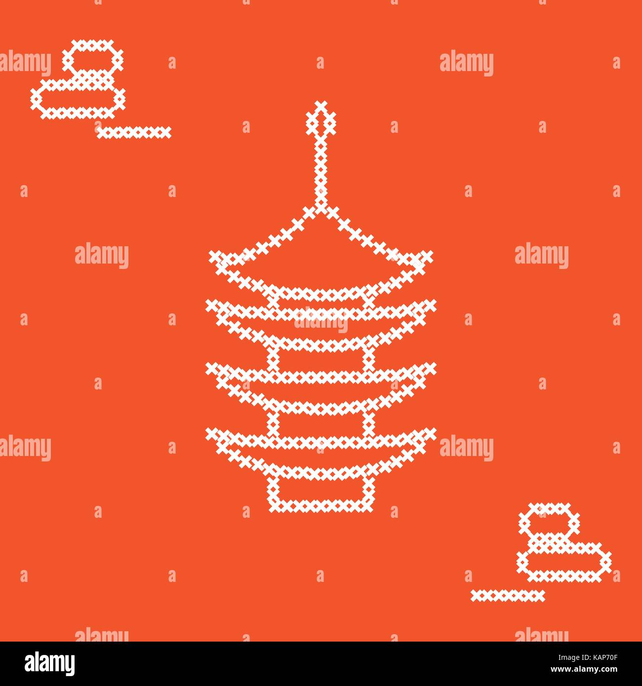Cute vector illustration cross embroidery of pagoda and rocks for japanese rock garden. Design for banner, poster - Stock Vector