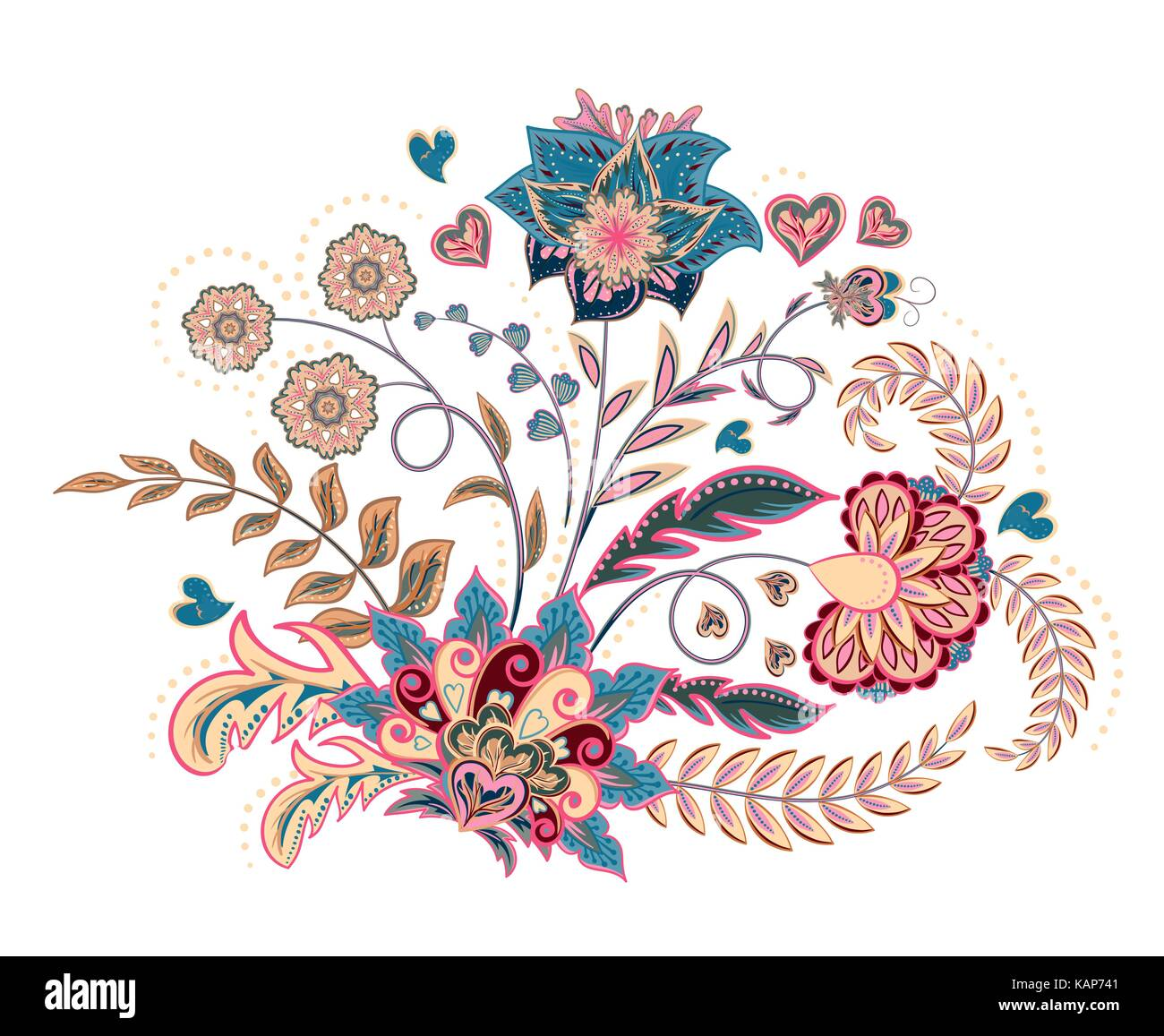 Embroidery Stitches With Fantasy Flowers In Pastel Color Vector