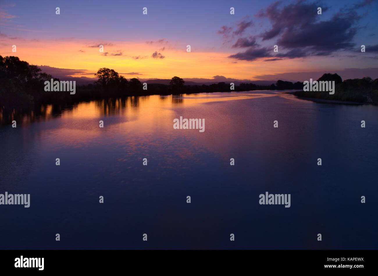 Sunset on the delta of Isonzo (Soca) river, blue hour, Gorizia, Italy - Stock Image