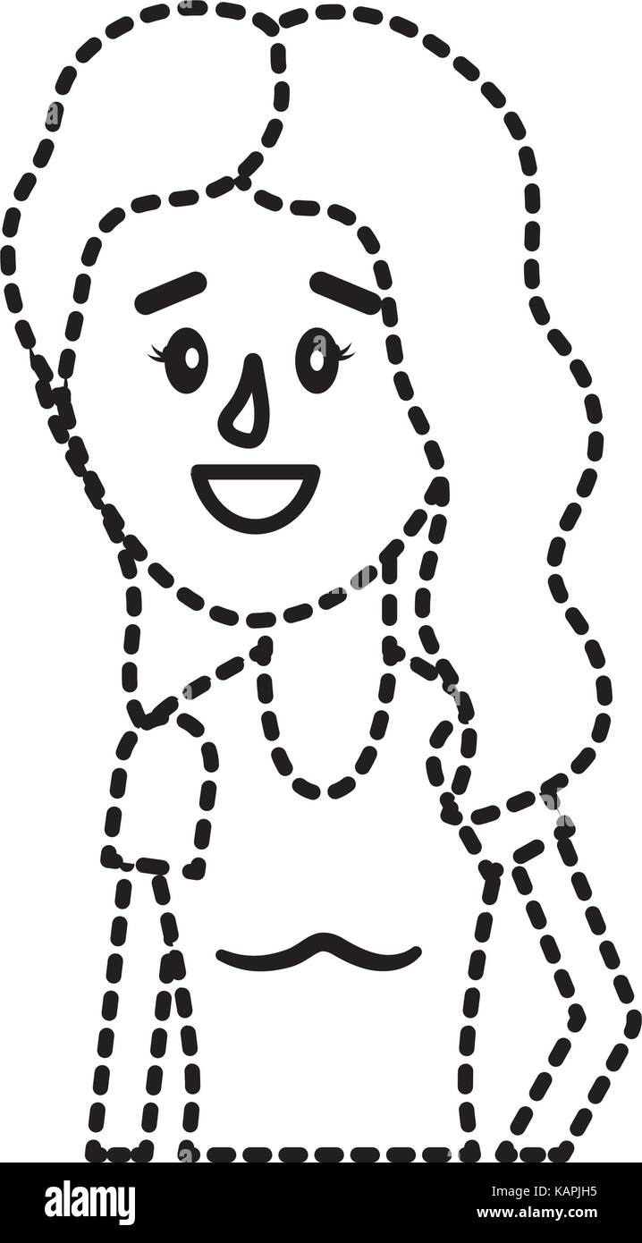 dotted shape woman with hairstyle and blouse design - Stock Image