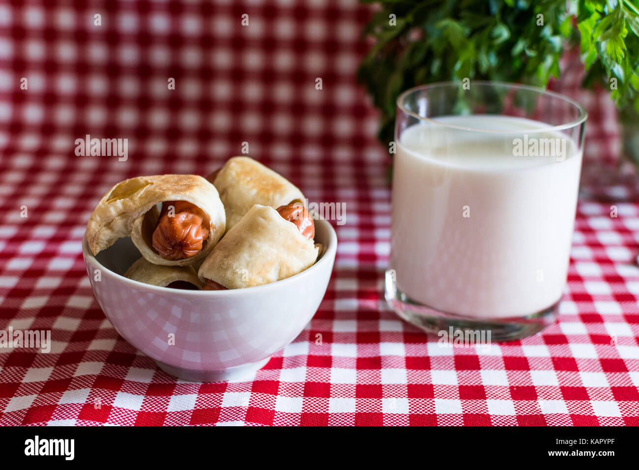 Plate with mini hot dogs homemade (Sausage in the dough) and a glass of fresh cow's milk with parsley on a plaid - Stock Image