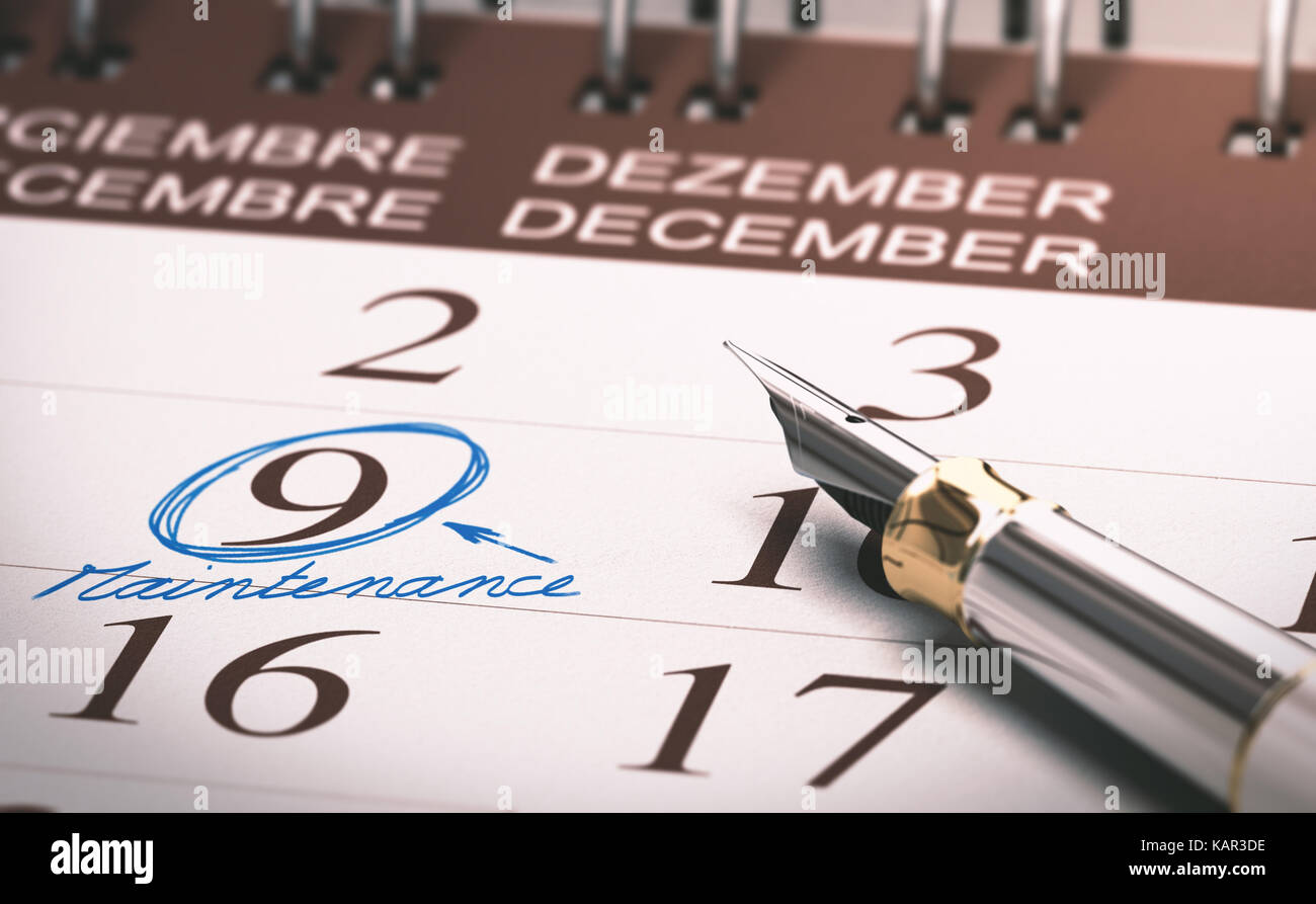 Schedule with number nine surounded by handwritten circle. Preventive maintenance concept. 3D illustration - Stock Image