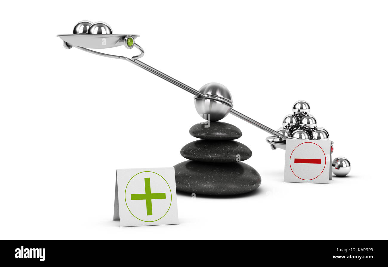 Seesaw containing metal spheres inclined on the negative side. Concept of Pros and cons analysis over white background. Stock Photo