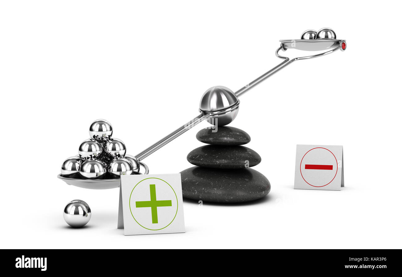 Seesaw containing metal spheres inclined on the positive side. Concept of Pros and cons analysis over white background. - Stock Image