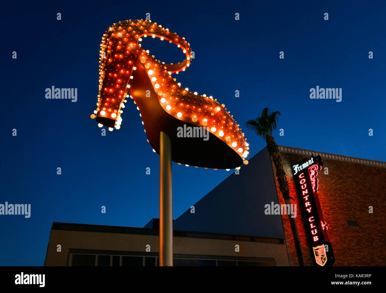 Neon Light Woman's High Heel Shoe in the Fremont Distict - Stock Image
