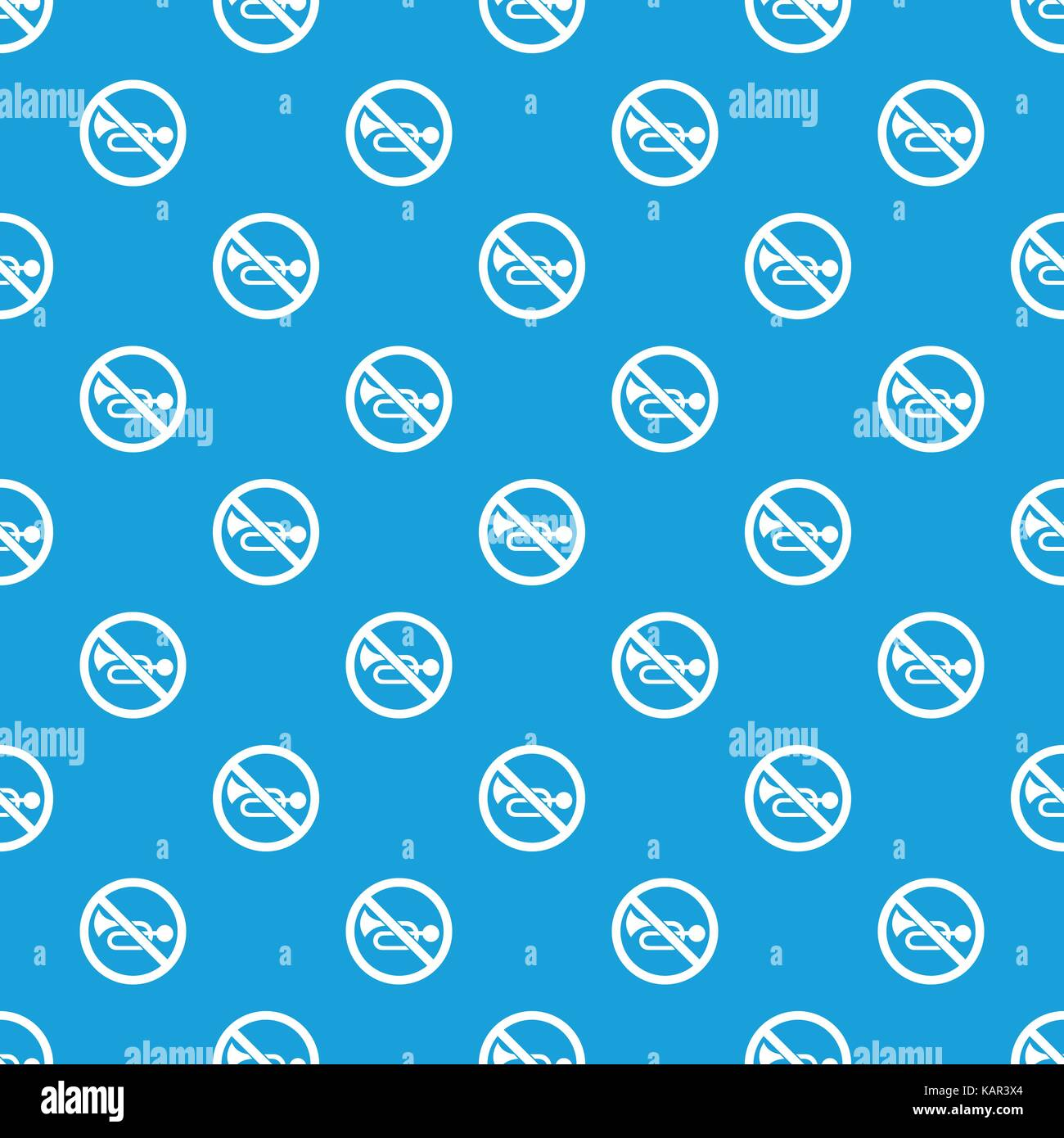 No horn traffic sign pattern seamless blue Stock Vector