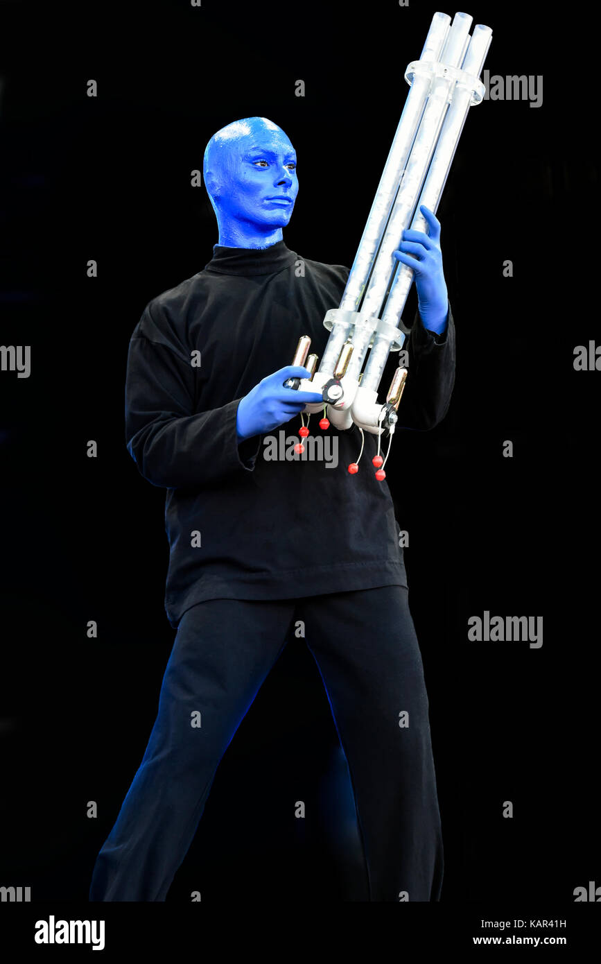 Blue Man Group performing on stage at the Life is Beautiful festival - Stock Image