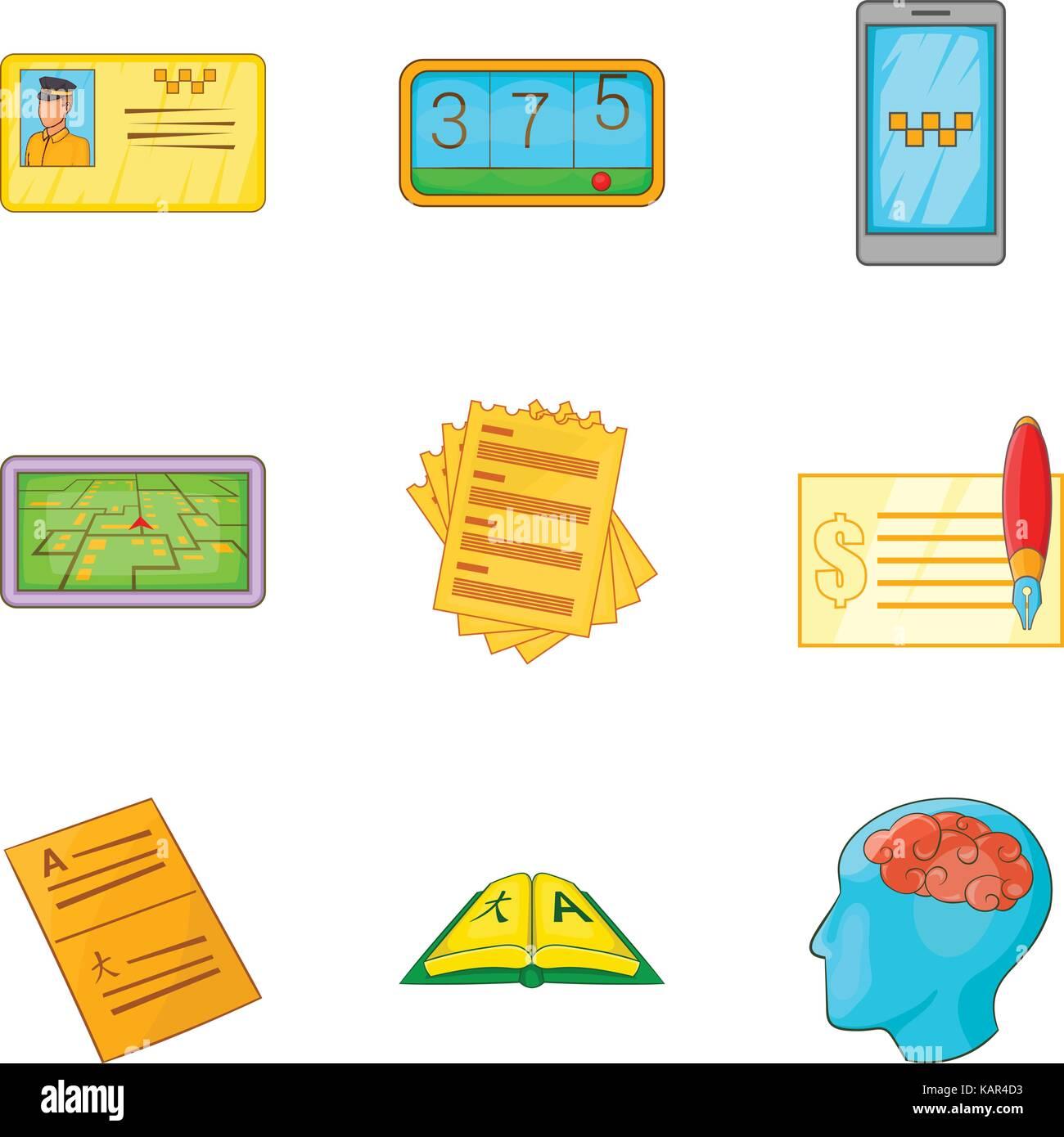Enumeration icons set, cartoon style - Stock Image