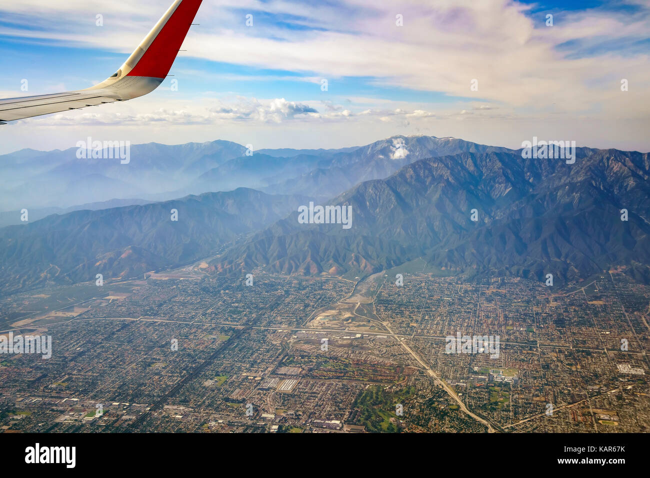 Aerial view of Upland, Rancho Cucamonga, view from window seat in an airplane, California, U.S.A. - Stock Image
