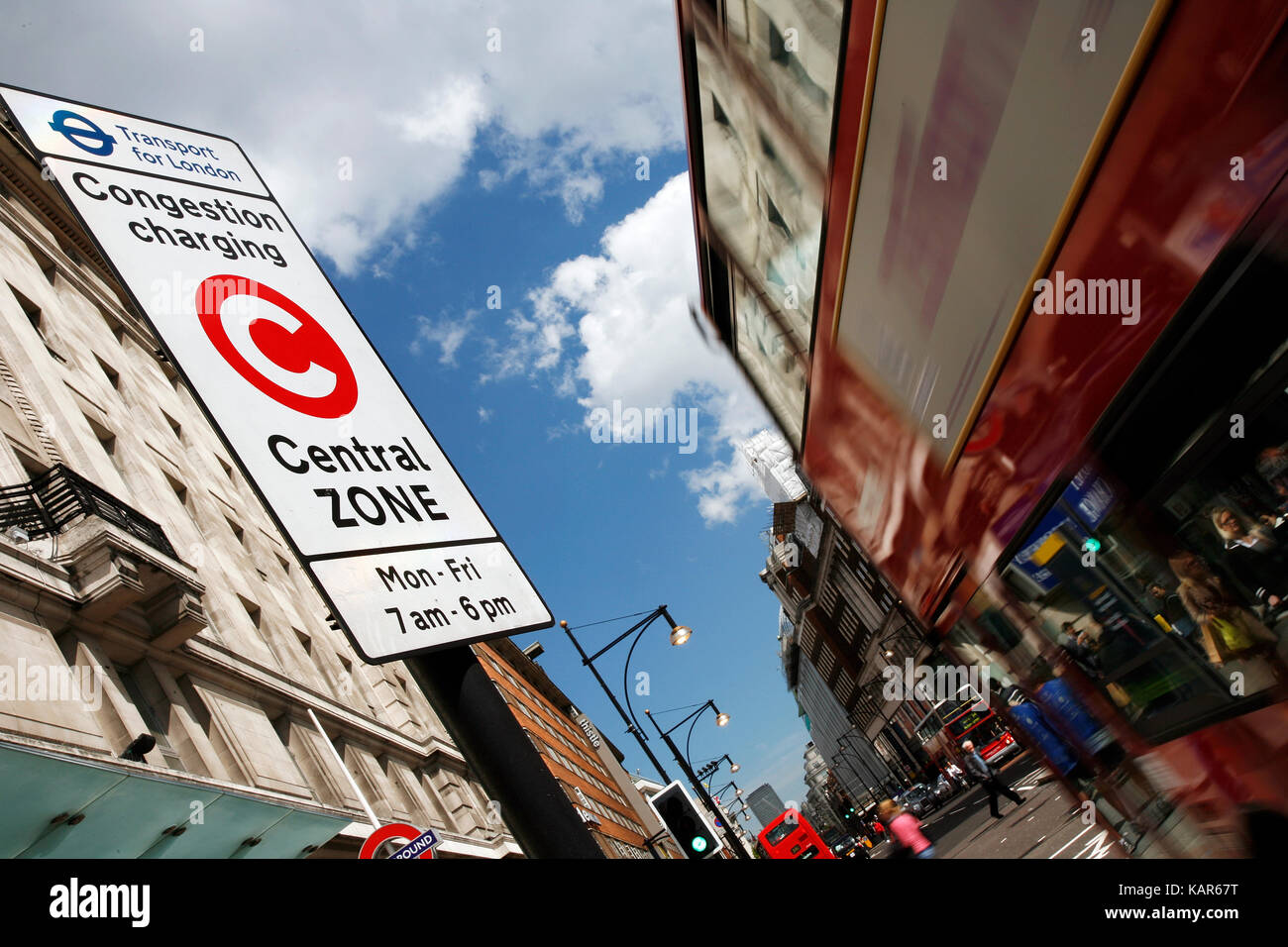 Congestion Charge Zone Sign, introduced 2003 to reduce congestion in central London. The standard charge is 11.50 - Stock Image