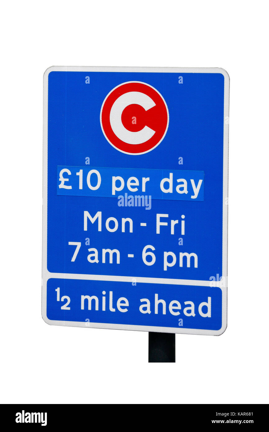 Congestion Charge Zone Sign, introduced 2003 to reduce congestion in central London, The standard charge is £11.50 - Stock Image