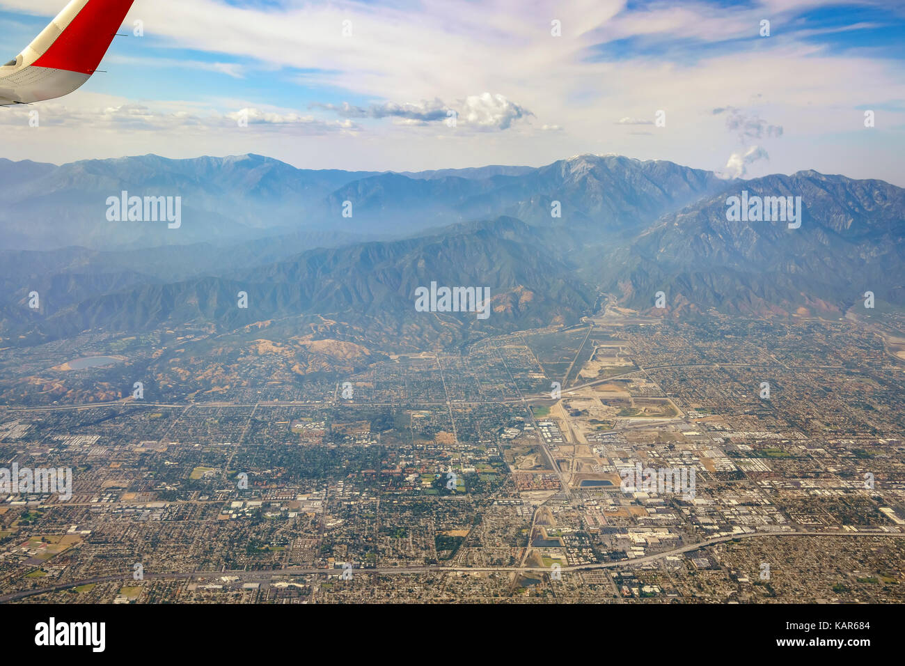 Aerial view of Upland, Claremont view from window seat in an airplane, California, U.S.A. - Stock Image