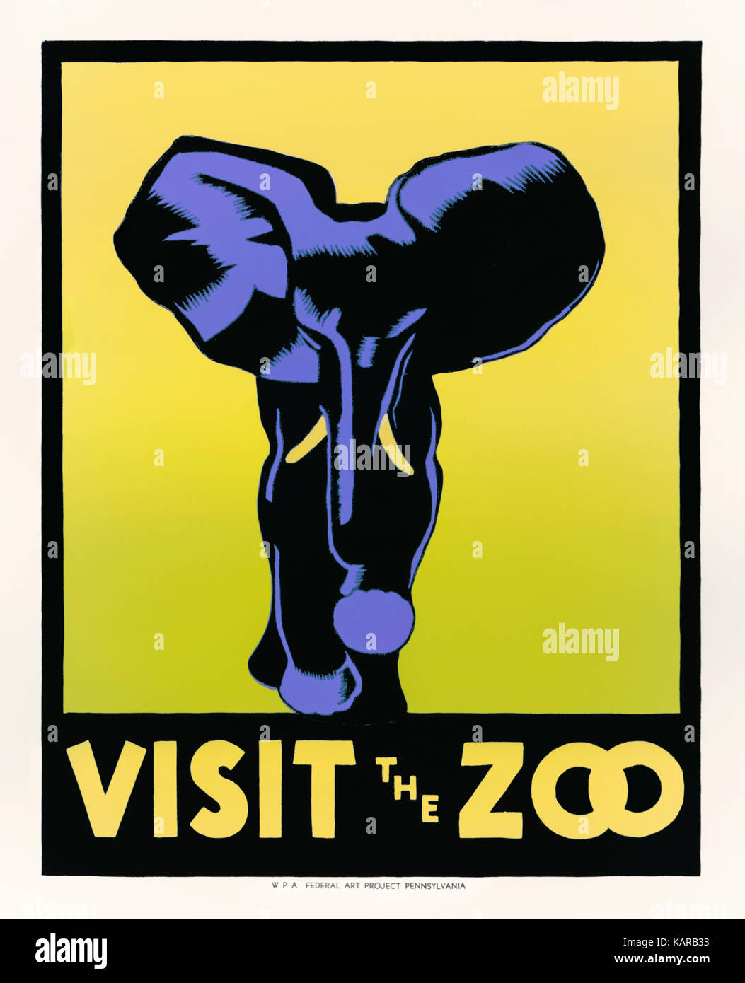 """""""Visit the Zoo' 1936 poster featuring a woodblock print of an elephant designed by Hugh Stevenson (1910-1956) - Stock Image"""