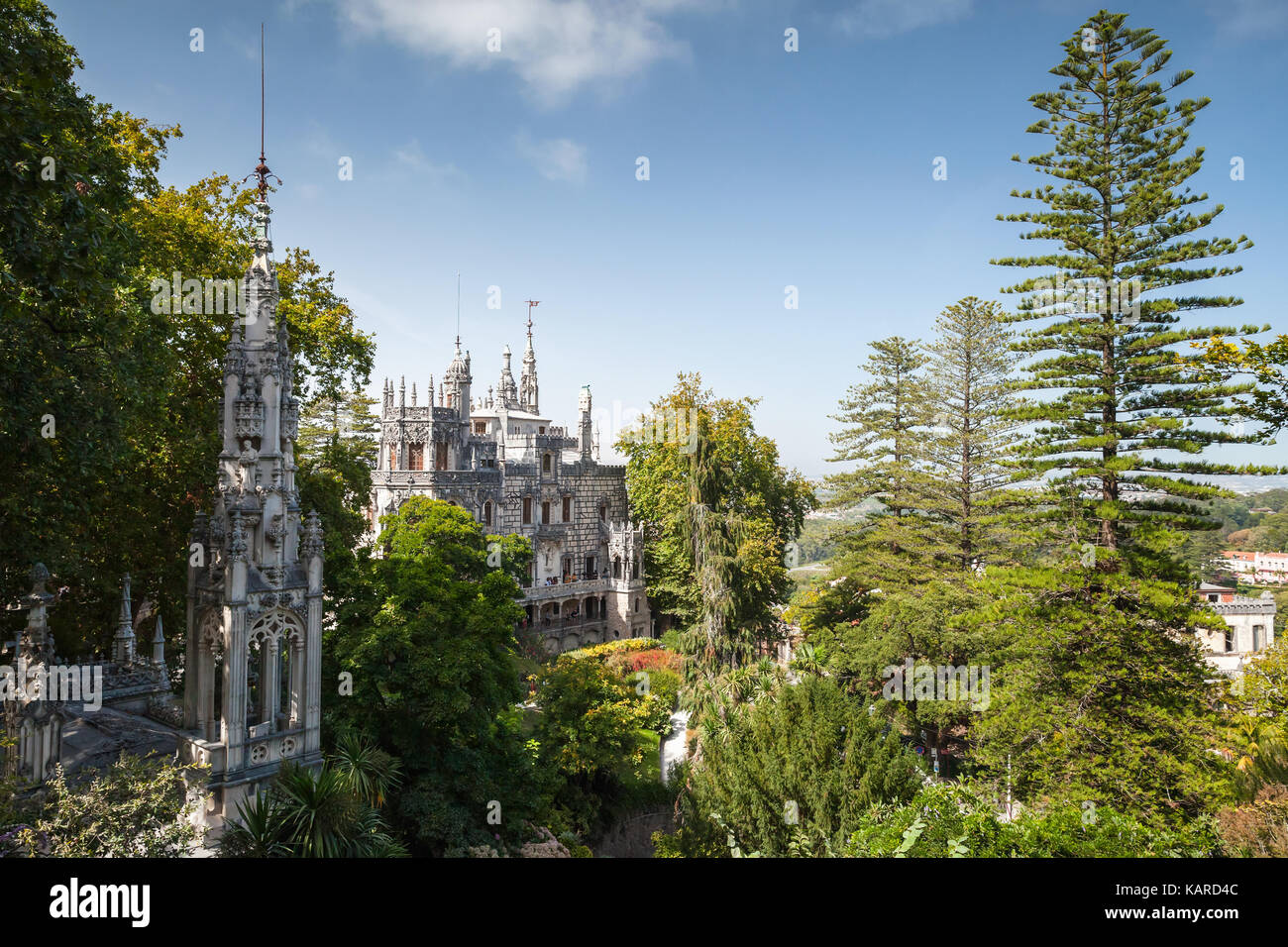 Palace and chapel of Quinta da Regaleira is an estate located near the historic center of Sintra, Portugal. It was - Stock Image