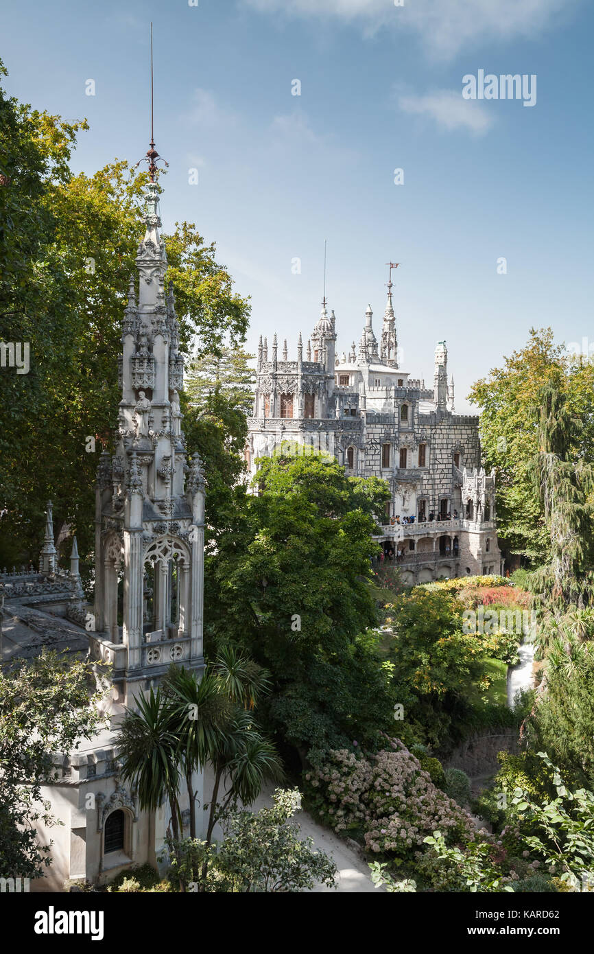 Romantic palace and chapel of Quinta da Regaleira. Sintra, Portugal. It was completed in 1910 and now is classified - Stock Image