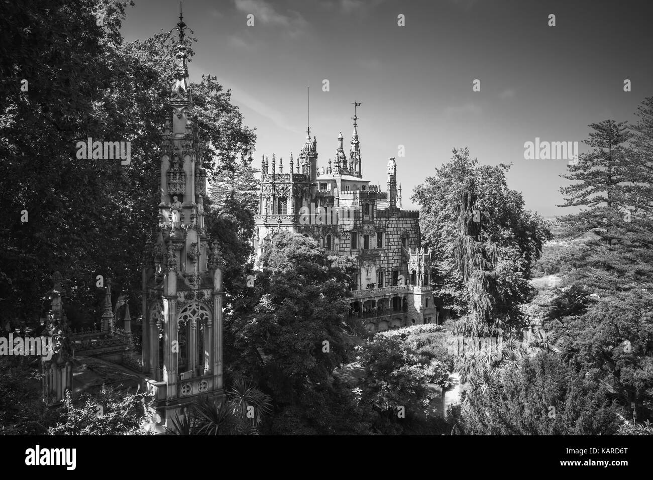 Romantic palace and chapel of Quinta da Regaleira located near in Sintra, Portugal. It was completed in 1910 and - Stock Image