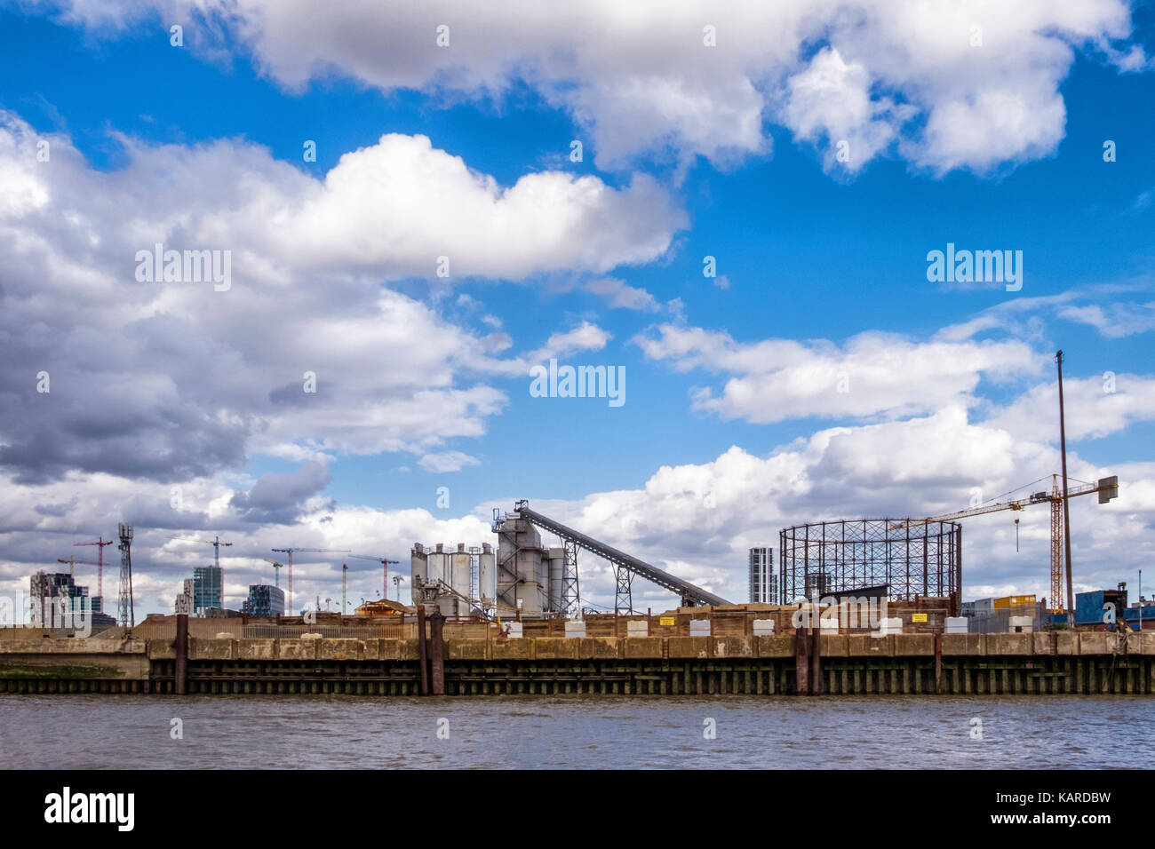 London,Greenwich. Gasometer, old listed structure  in industrial area is a target for developers who wish to replace - Stock Image