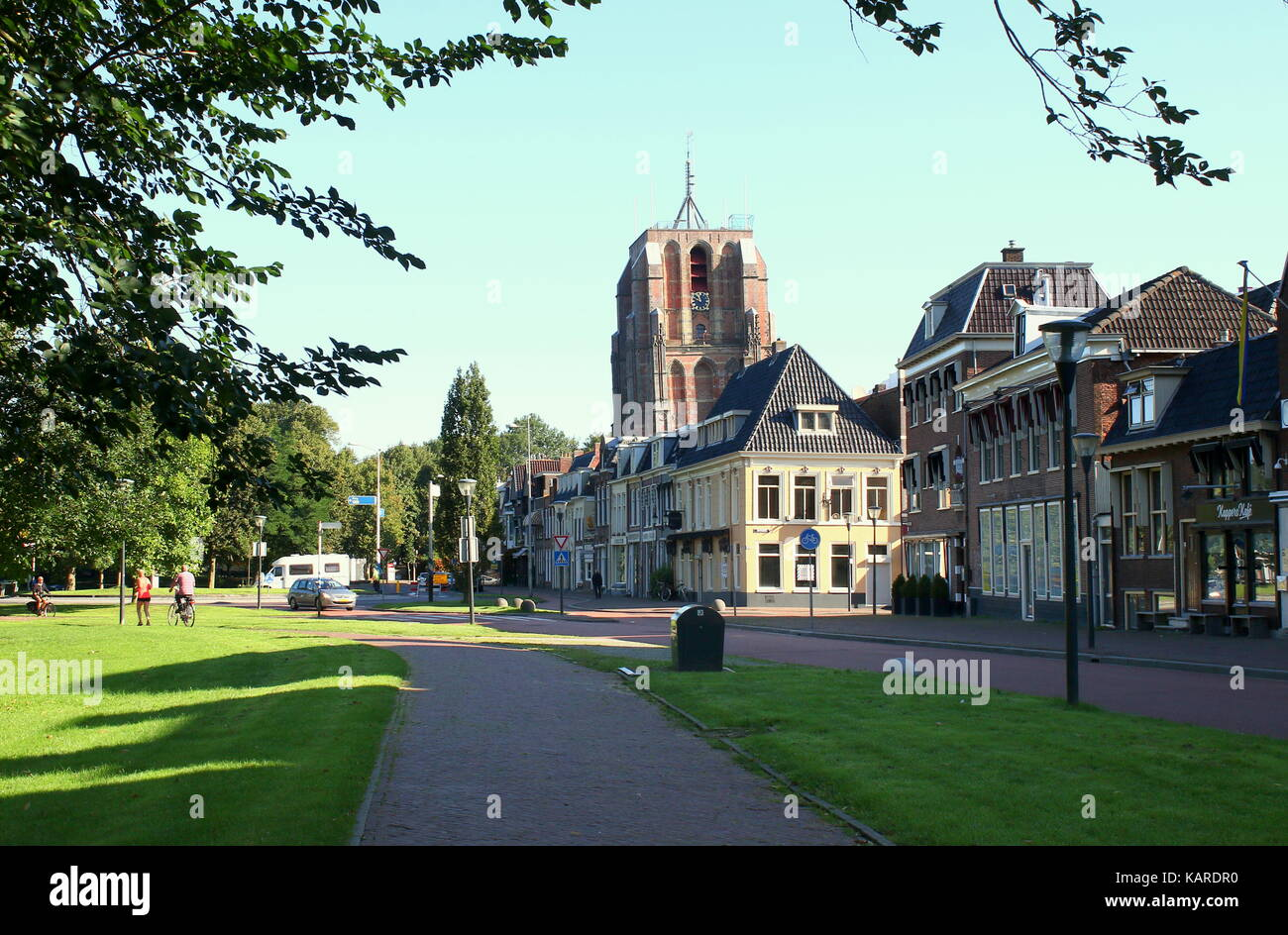 Leeuwarden historic skyline with Oldehove Tower in the old medieval centre of Leeuwarden, Friesland, The Netherlands, - Stock Image