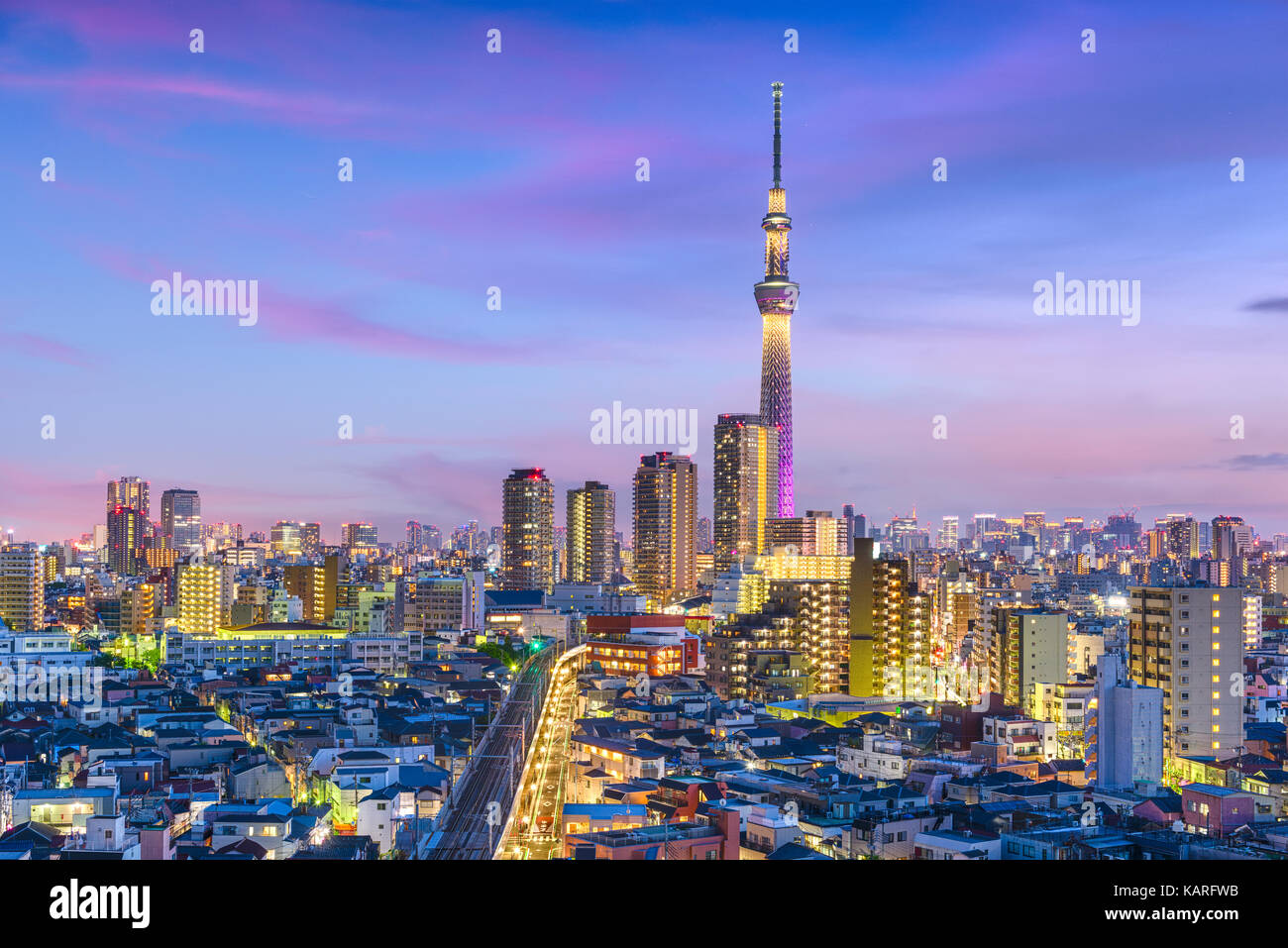 Tokyo, Japan cityscape over Sumida Ward. - Stock Image
