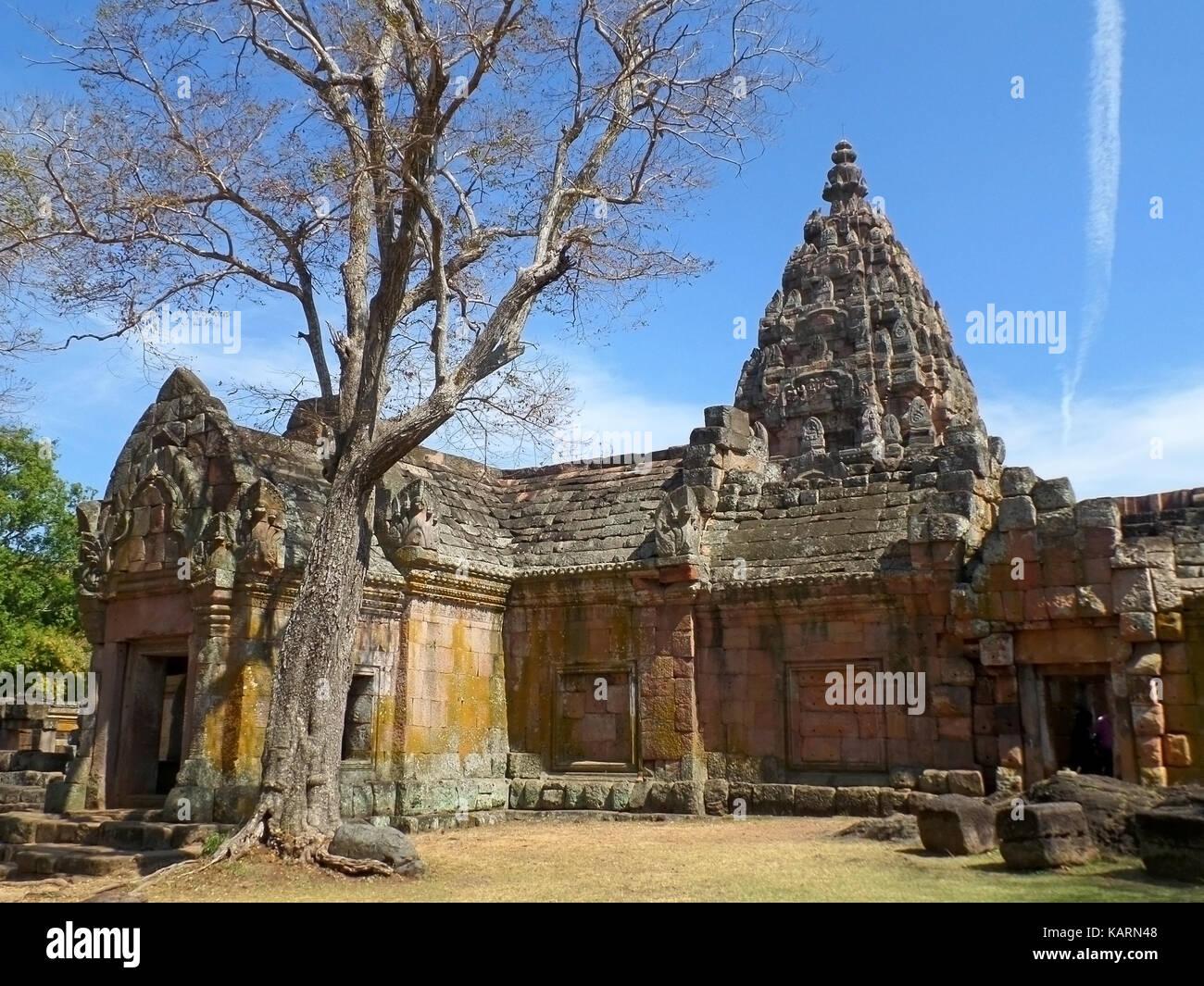 The Impressive Prasat Hin Phanom Rung Ancient Khmer Temple under Vivid Blue Sky, Thailand - Stock Image