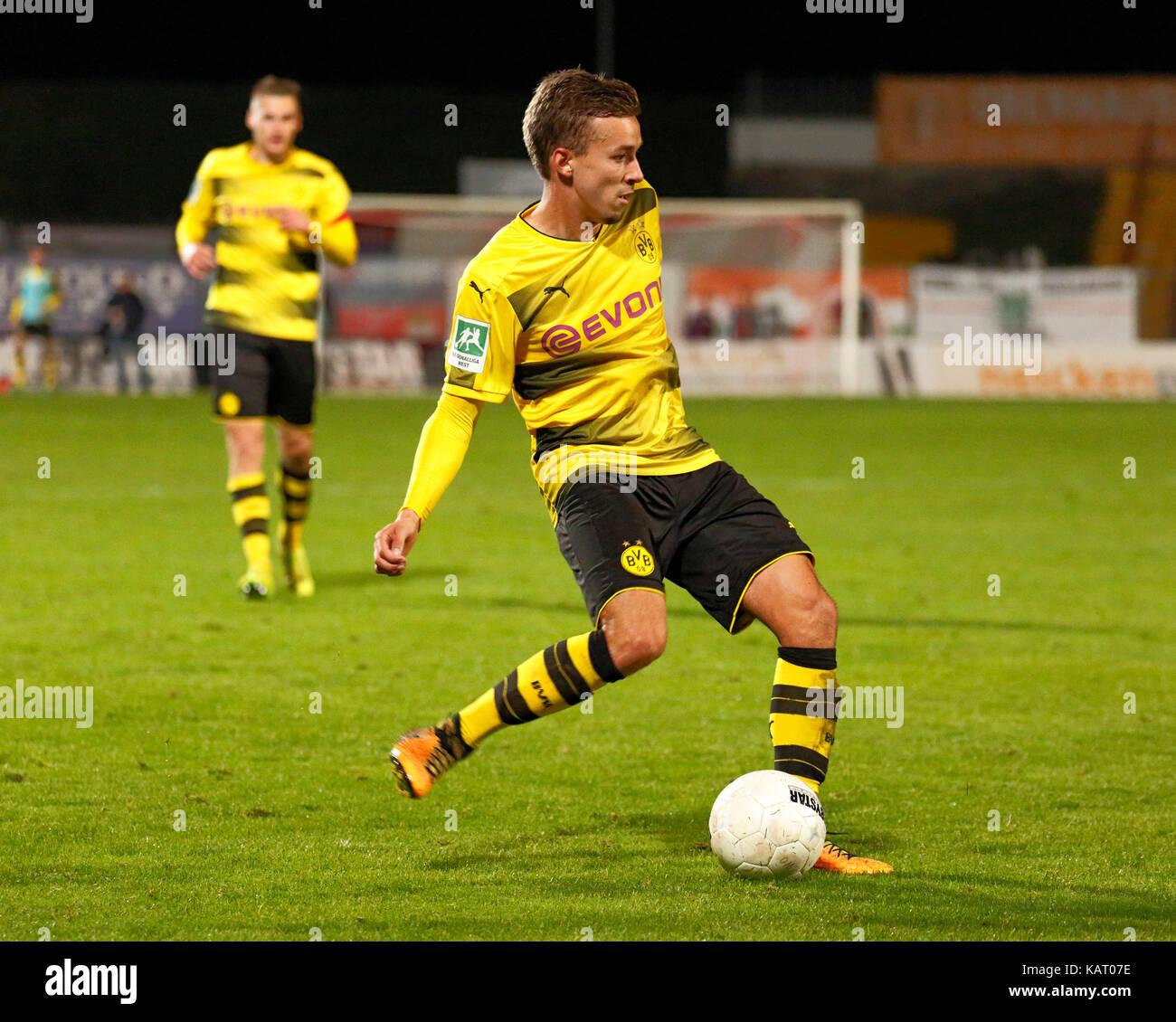 sports, football, Regional League West, 2017/2018, Rot Weiss Oberhausen vs BVB Borussia Dortmund U23 1:0, Stadium - Stock Image